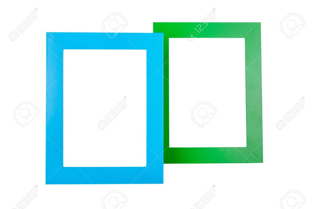 Azul Y Verde Marcos De Cuadros Aislados Sobre Fondo Blanco Fotos ...