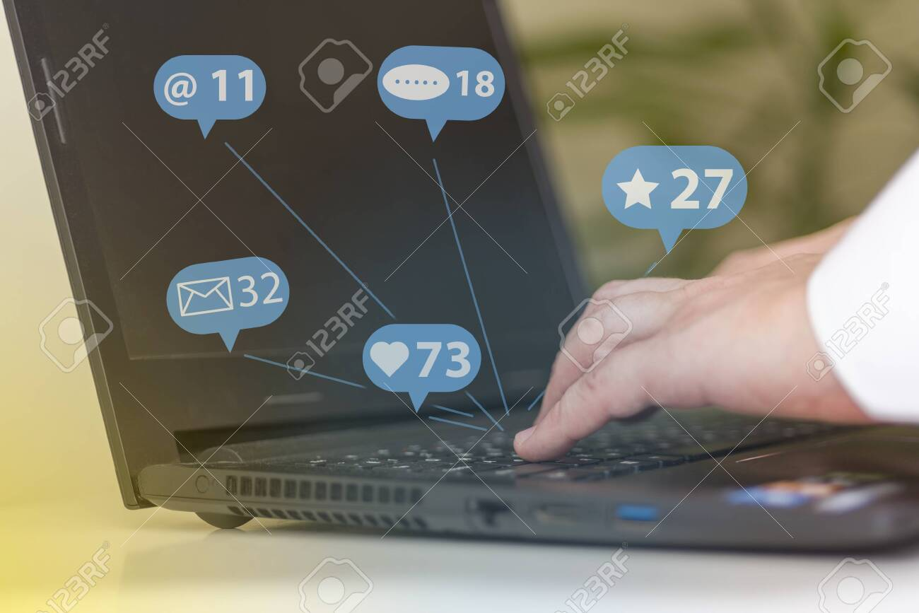 Social media marketing SMM, likes, followers and comment on internet, online business, hands typing on computer blue tone. Concepts of social networks. - 146312652