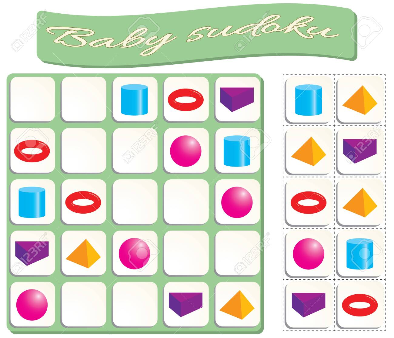 Baby Sudoku with colorful geometric shapes. Game for preschool..