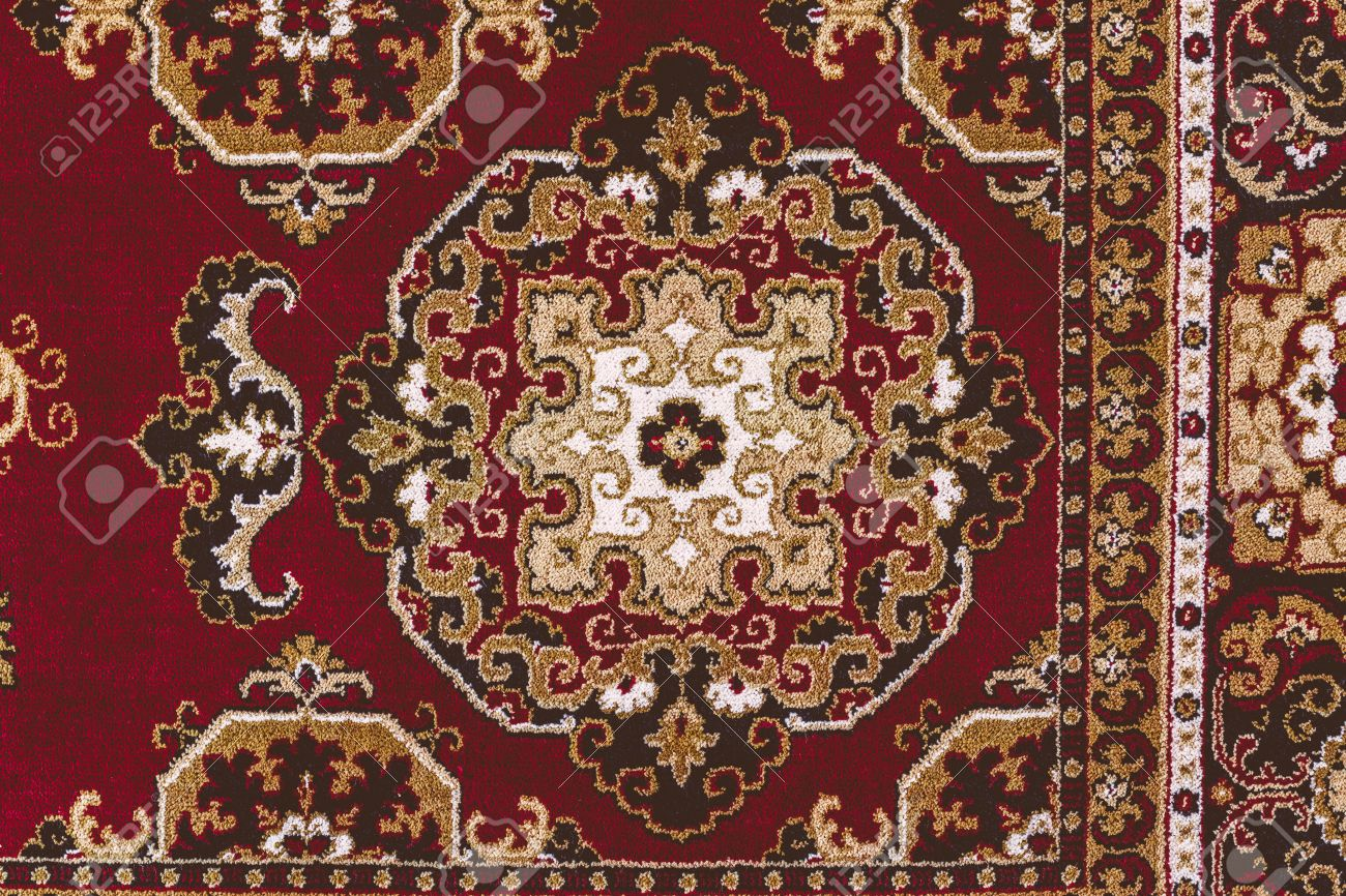 Red Oriental Persian Carpet Texture Background