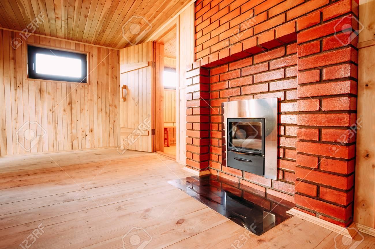 interior of the sauna window fireplace nobody stock photo