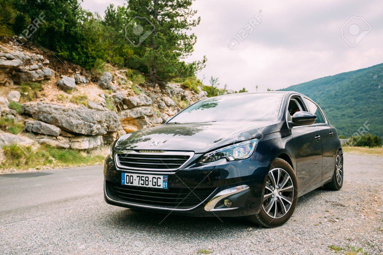 Verdon, France - June 29, 2015: Black Colour Peugeot 308 5-door ...