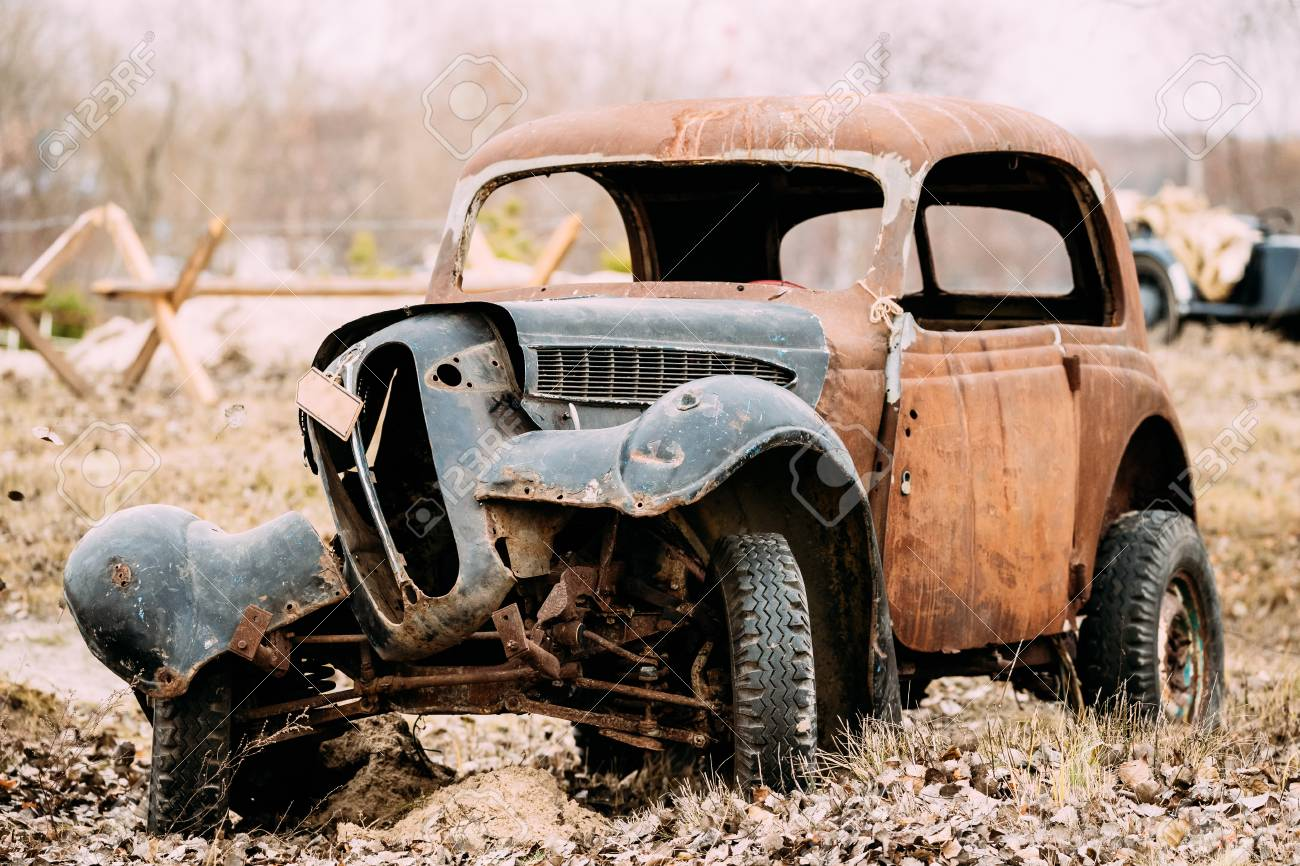 Old Broken Rusty Car Abandoned During Second World War Stock Photo ...