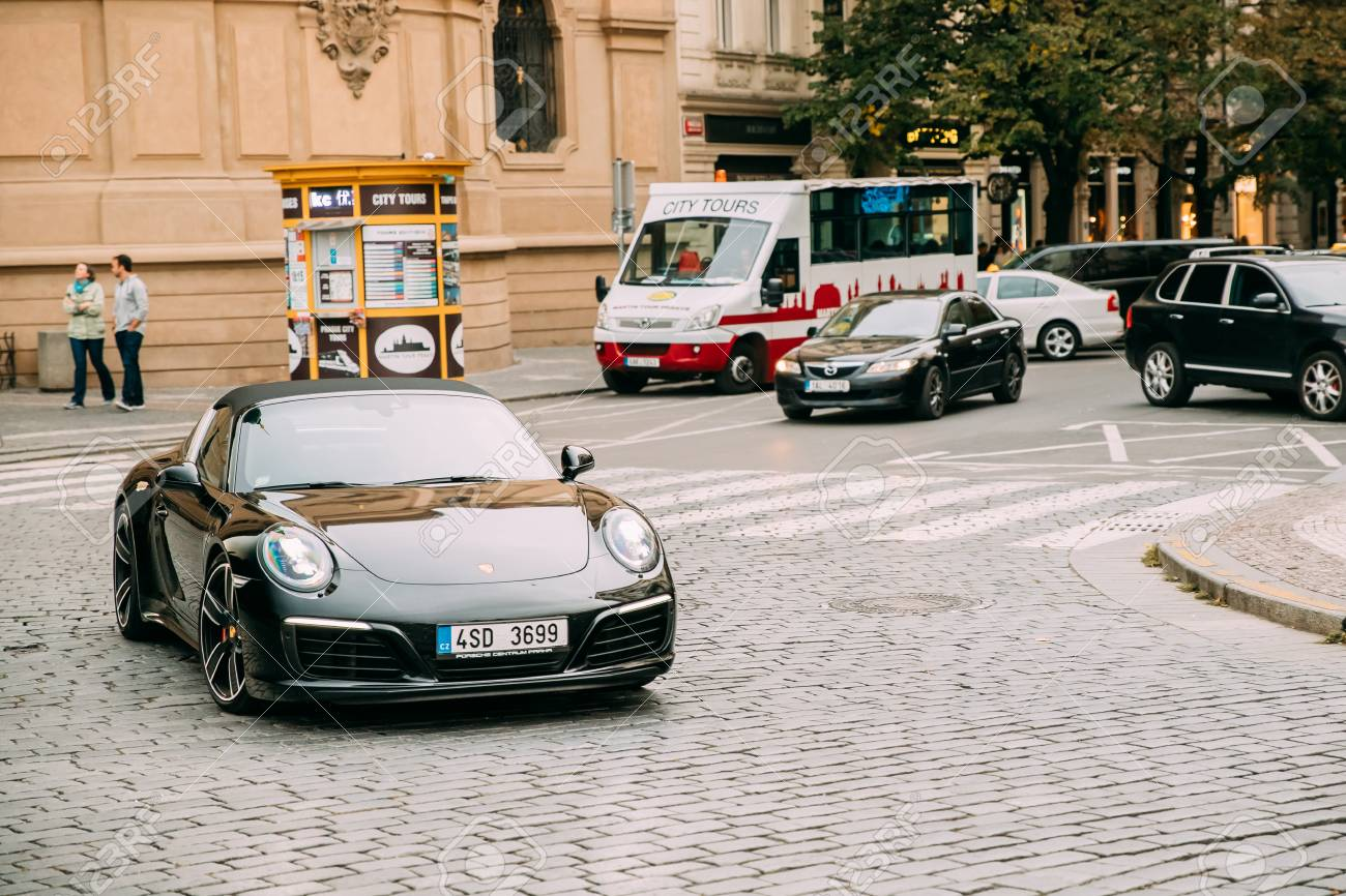 Front View Of Black Porsche 991 Targa 4s Car Moving On Street Stock Photo Picture And Royalty Free Image Image 90981930