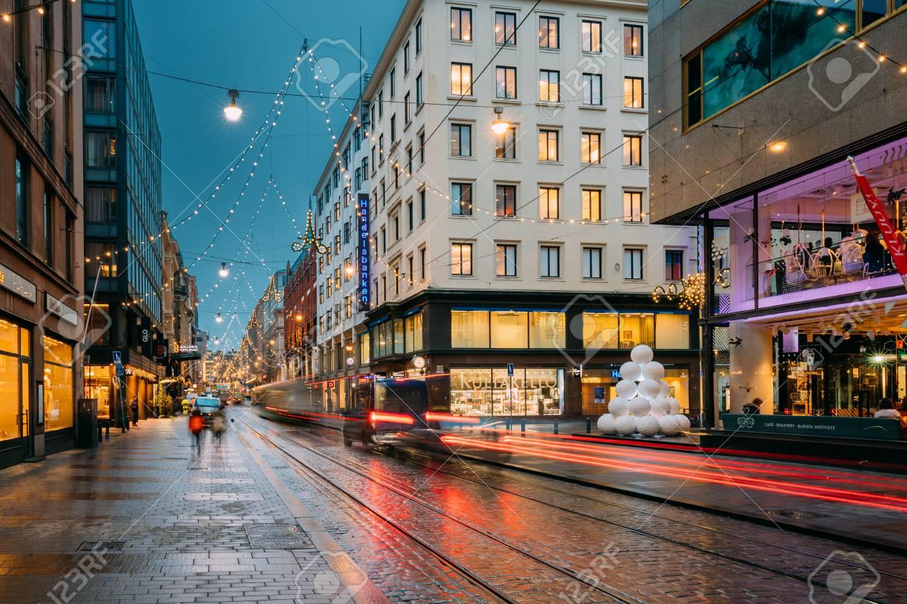 Finland Christmas Decorations.Helsinki Finland New Year Lights Xmas Christmas Decorations