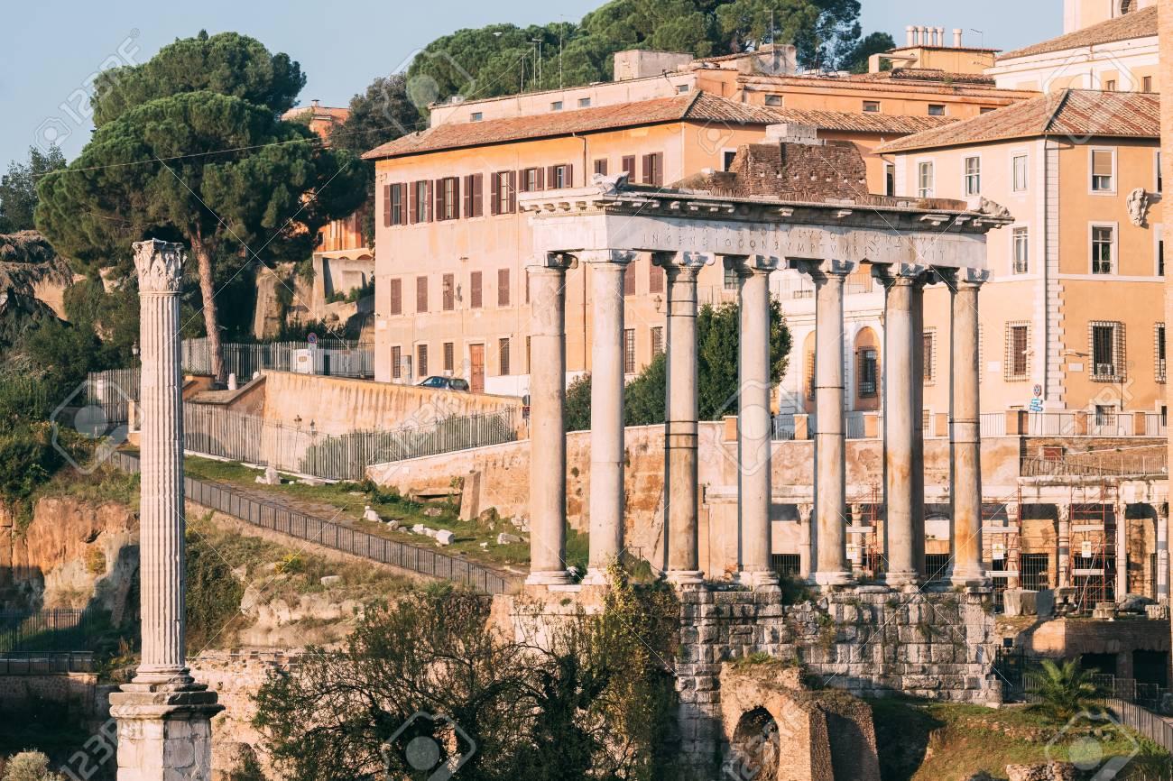 Rome, Italy. Column Of Phocas And The Temple Of Saturn. Colonna Di Foca And Tempio Di Saturno. The Historic Centre Of Rome - 125723093