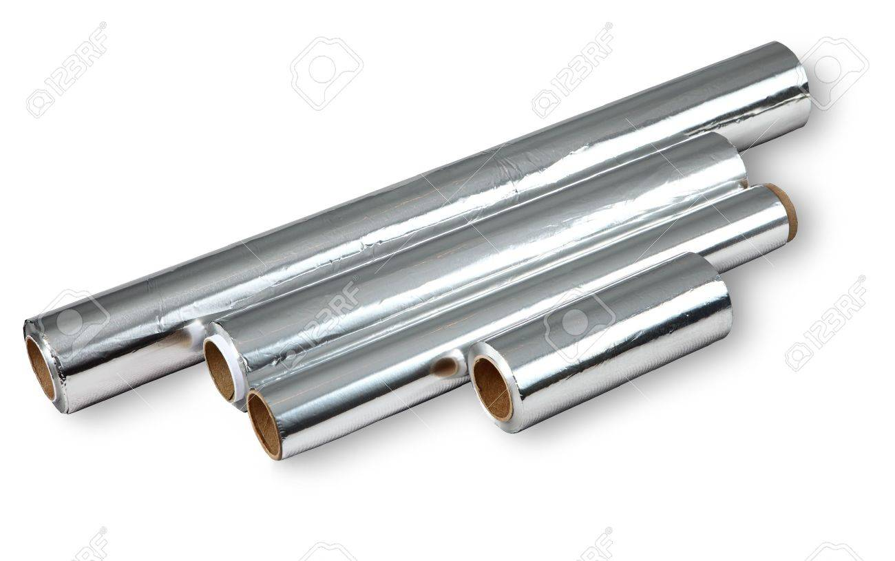 Ordinaire Four Different Roll Of Aluminum Foil For Food Storage And Cooking, Isolated  Image On White