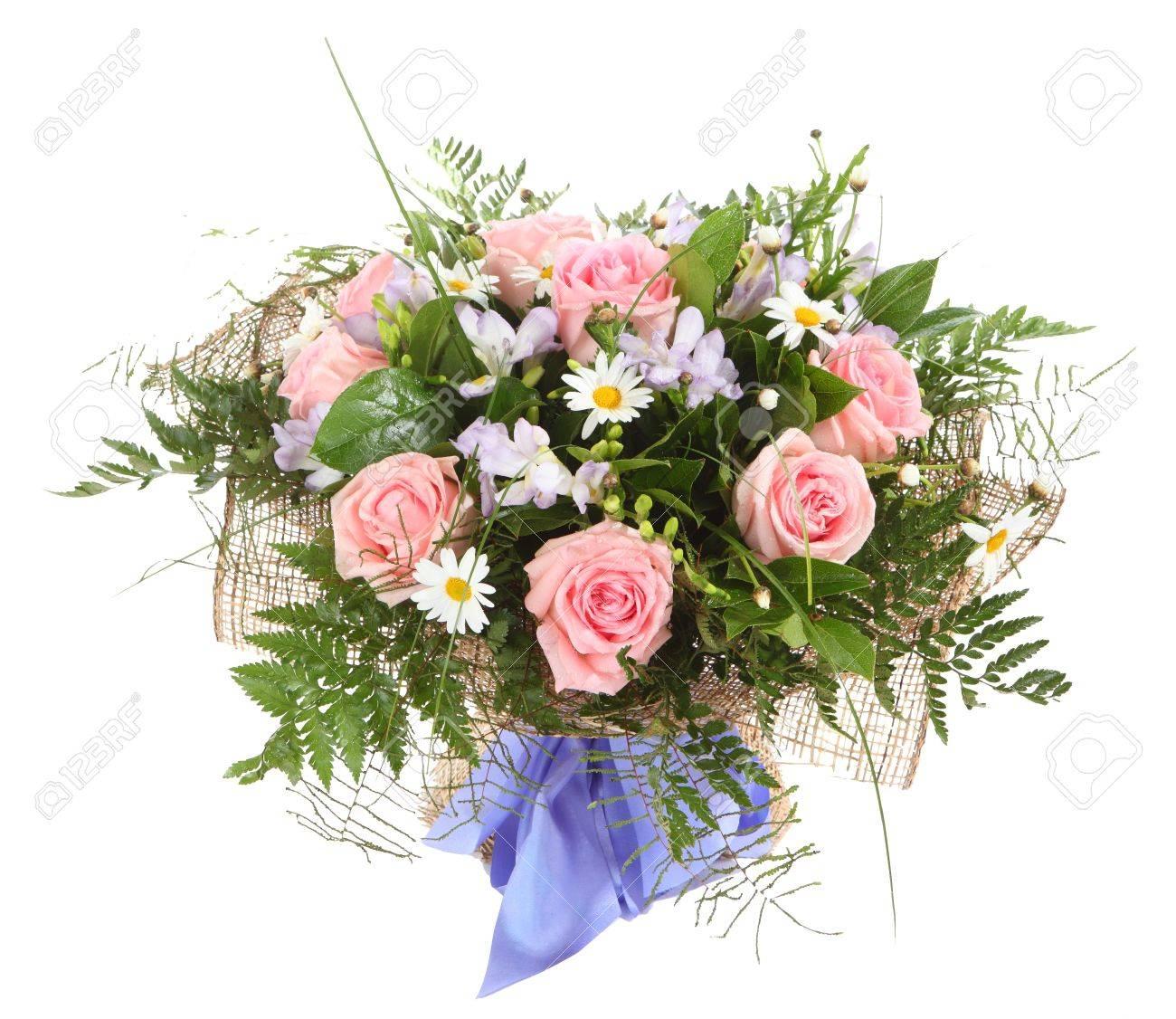 Arreglo Floral Ramo De Margaritas Blancas Y Rosas De Color Rosa Composición Floral Aislado En El Fondo Blanco