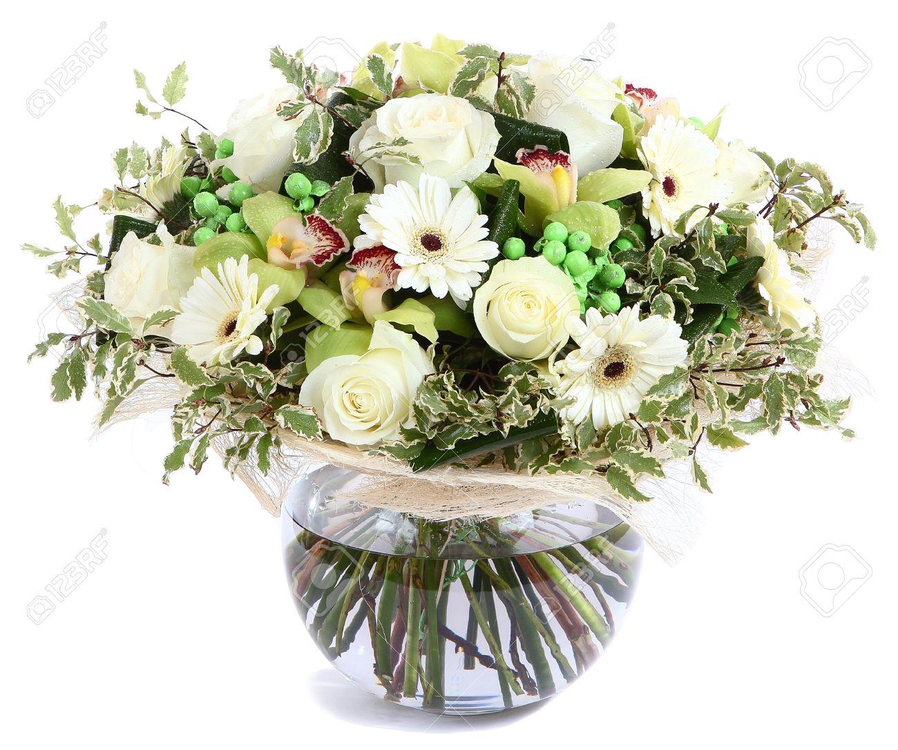 Centro De Flores De Cristal Florero Transparente Las Rosas Blancas Orquídeas Gerberas Blancas Guisantes Verdes Aislado Sobre Fondo Blanco