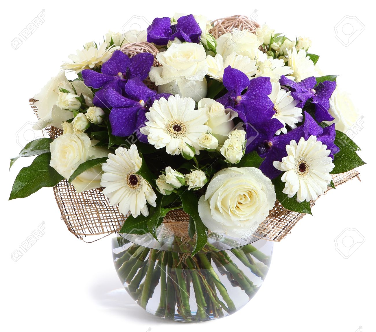 Flower arrangement in glass transparent vase white roses purple flower arrangement in glass transparent vase white roses purple orchids white gerbera izmirmasajfo