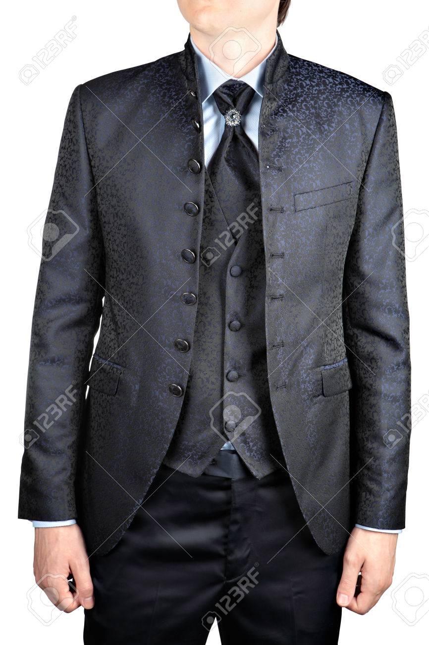 Herren Hochzeitsanzug Grau Mit Einer Weste Stehkragen