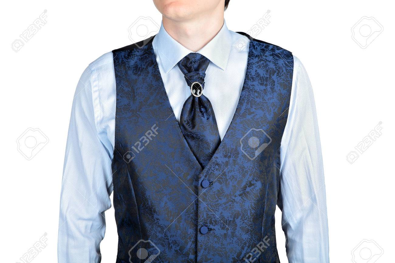 Dark Blue Men Wedding Waistcoat Jacquard Fabric, Isolated On.. Stock ...