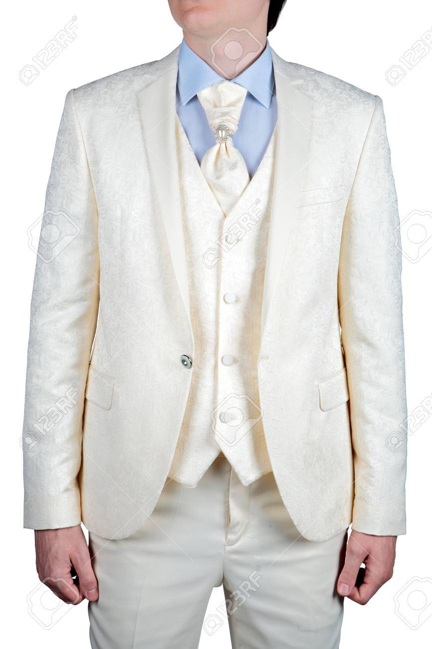 For Man Wedding Suit, Cream-colored Prom Dress Stock Photo ...