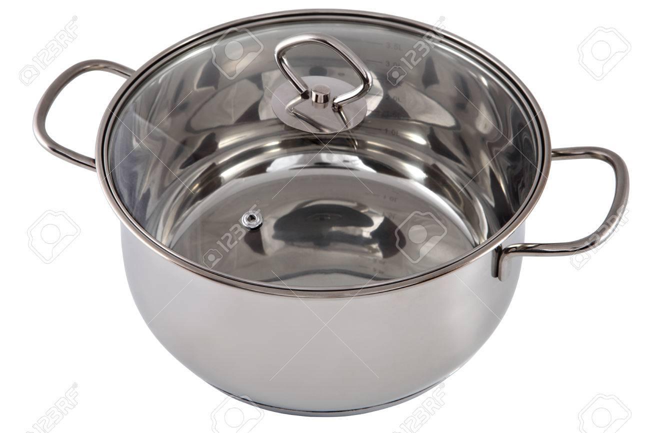 Küchengeräte, Eine Kasserolle Pan Edelstahl Mit Transparentem Glas ...