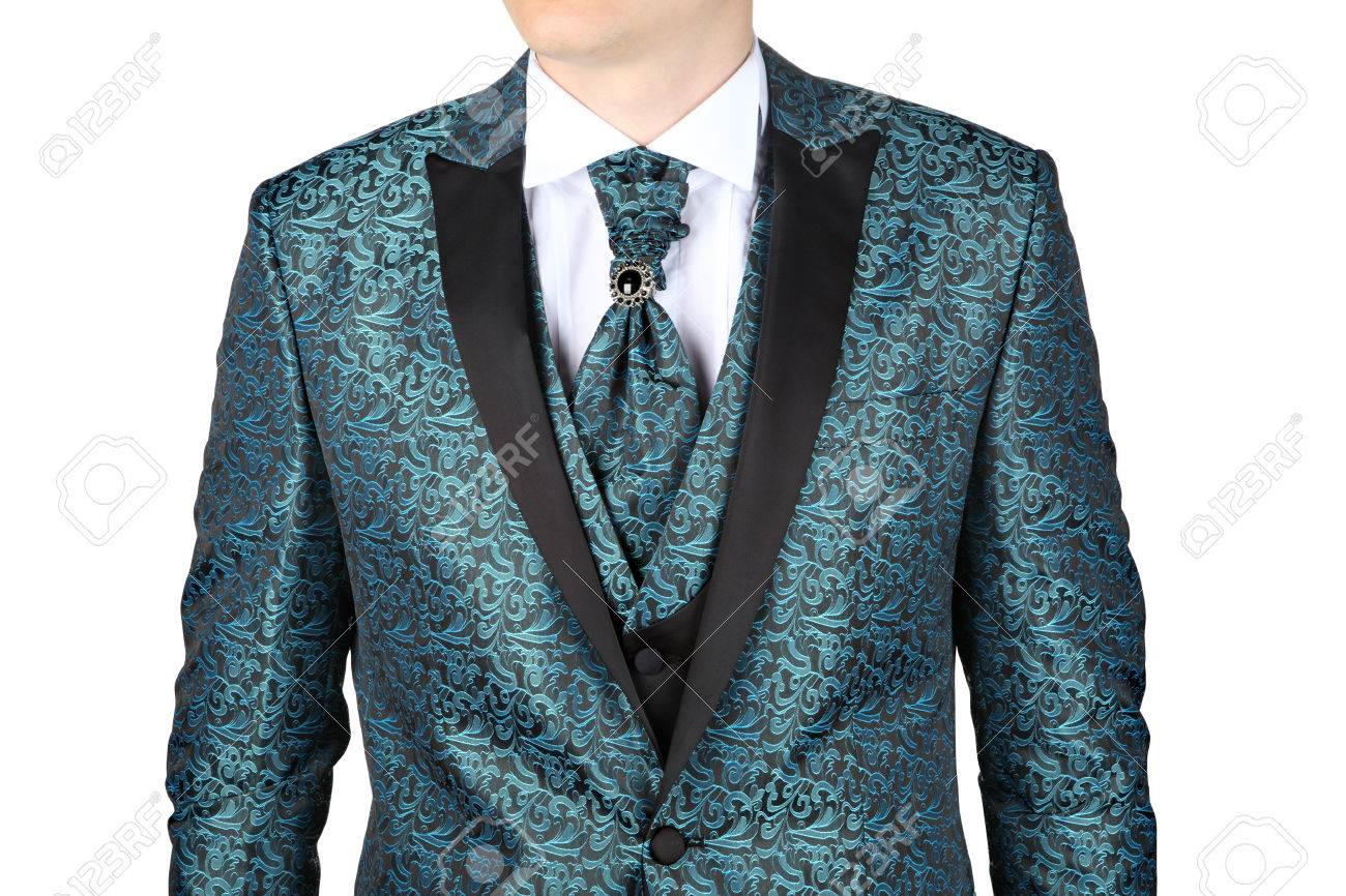 Fashionable Mens Suit With A Blue-green Floral Pattern, Designed ...