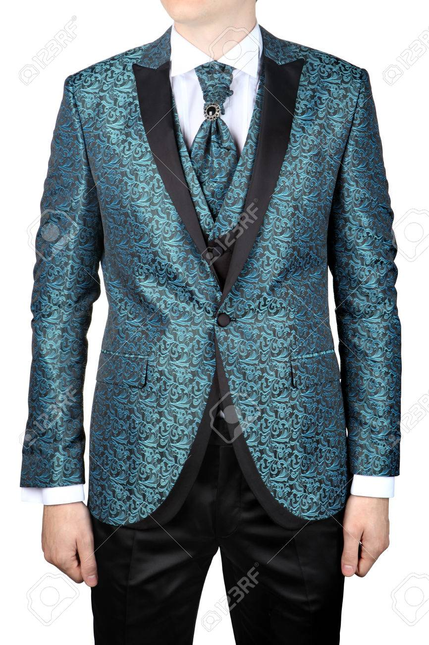 Wedding Turquoise With Floral Ornaments, Men\'s Suit For The Groom ...