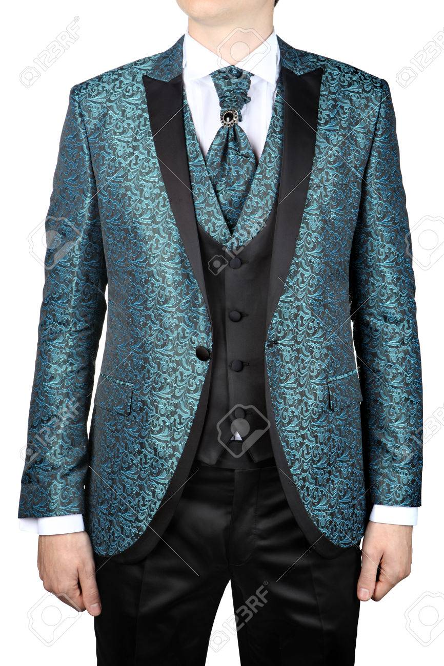 Wedding Mens Jacket With A Turquoise Floral Ornament For The.. Stock ...