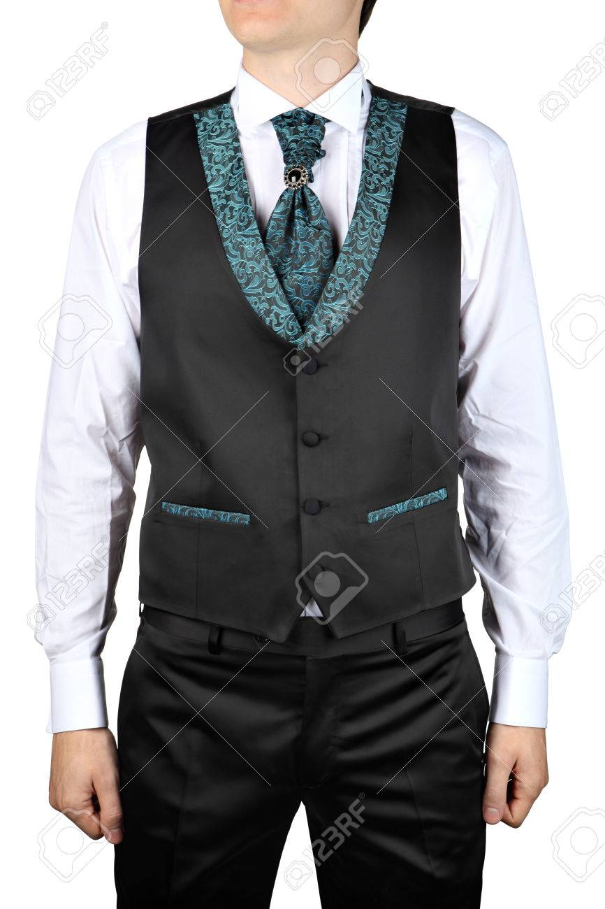 Mens Wedding Attire.Mens Wedding Attire Vest Suit Isolated On White Background