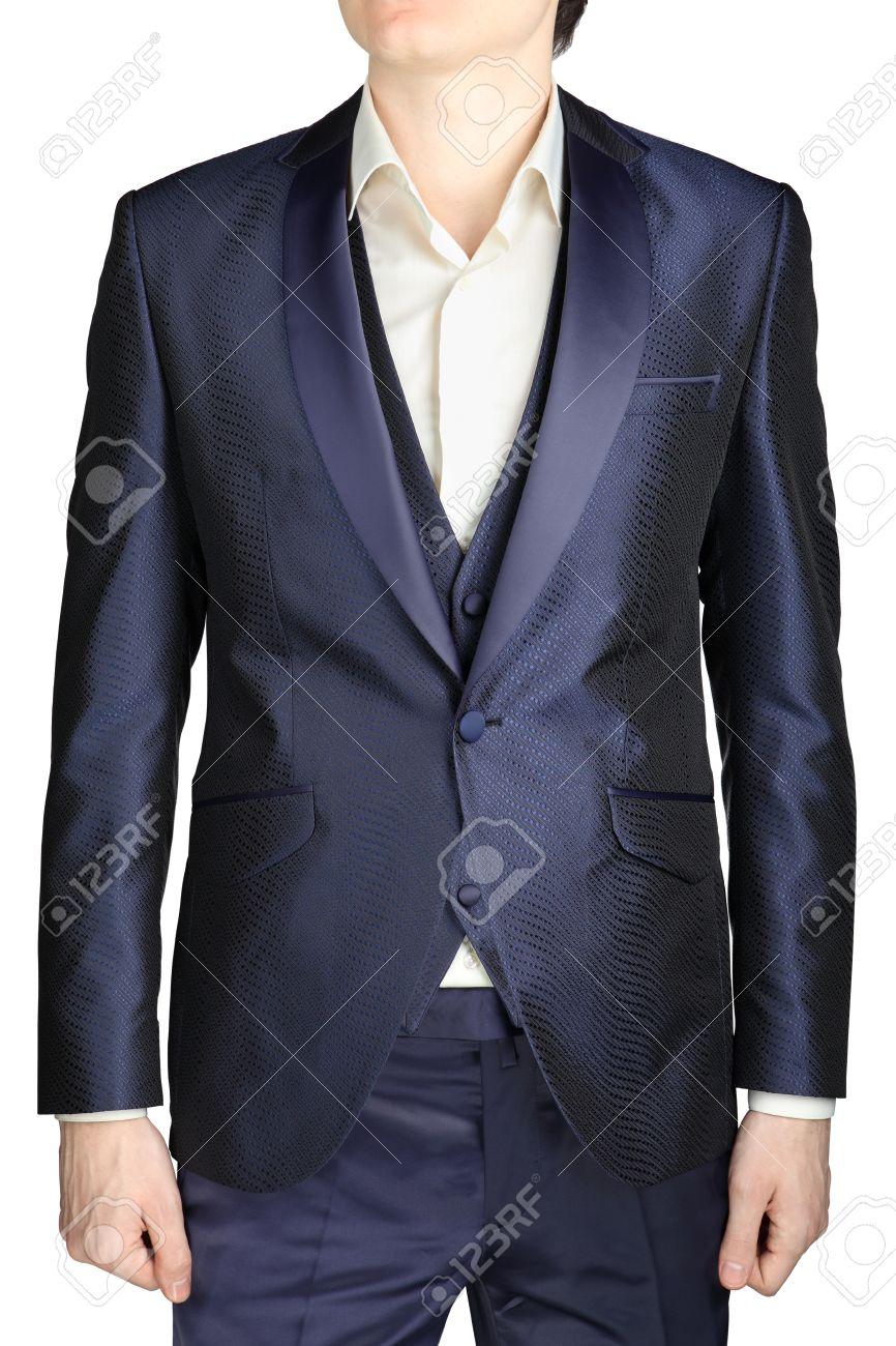 double coupon magasin en ligne outlet à vendre Bleu marine smoking de mariage, costume veste, gilet, pantalon, chemise  blanche sans cravate, isolé sur fond blanc mens.