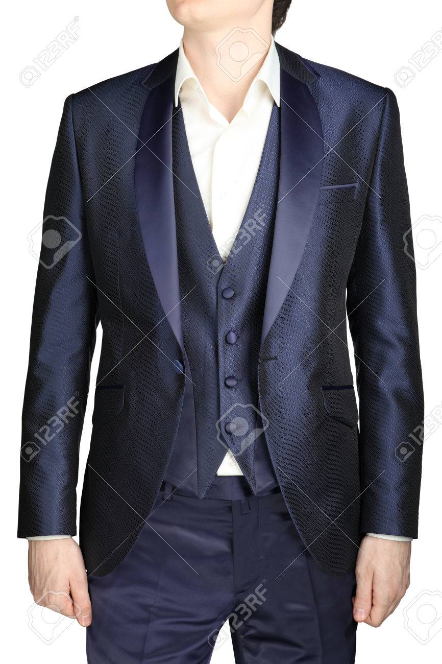 Unbuttoned Night Blue Men Wedding Dress With A Vest And A White ...