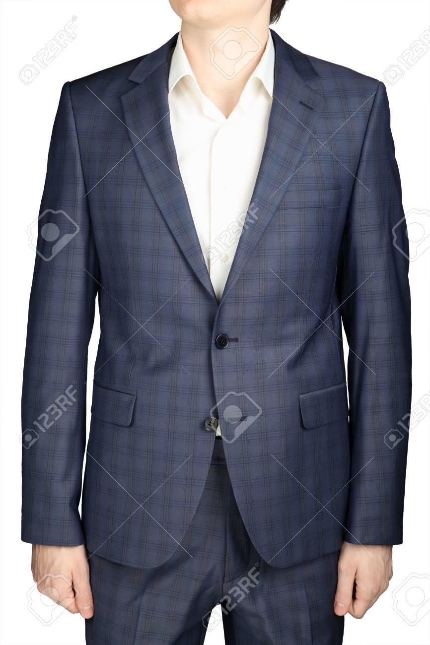 Foto de archivo - Gris azul traje a cuadros hombres de la chaqueta de la  boda el novio traje 98d84098ce0