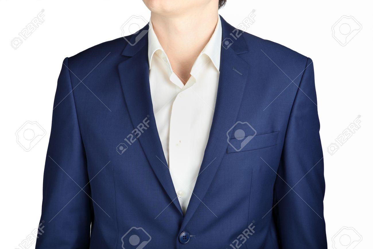 Dunkelblau Herren Hochzeitsanzug Jacke Close Up Isoliert Auf Weissem