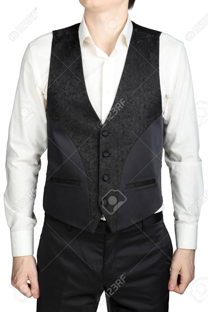 Dark Gray Patterned Waistcoat Wedding Suit Groom Isolated On White ...