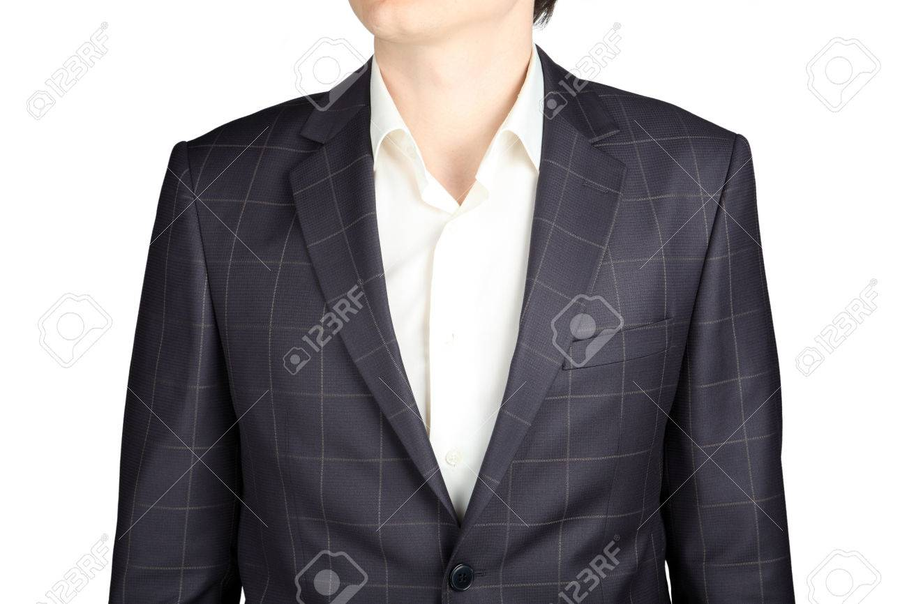 Close-up Of Gray Checkered Jacket Mans Suit For A Wedding, Prom ...