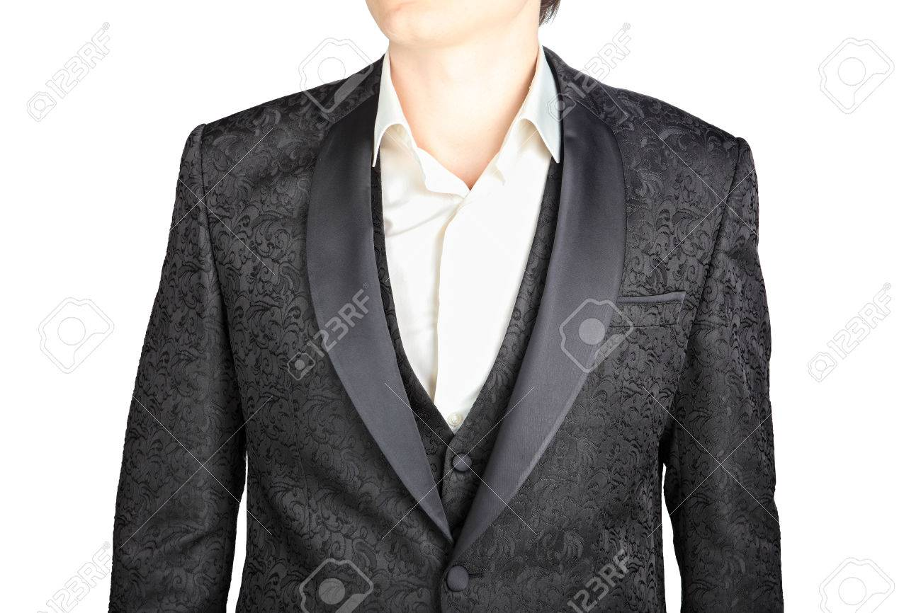 Close-up Of Dark Gray Pattern Wedding Suit Jacket, Isolated On ...