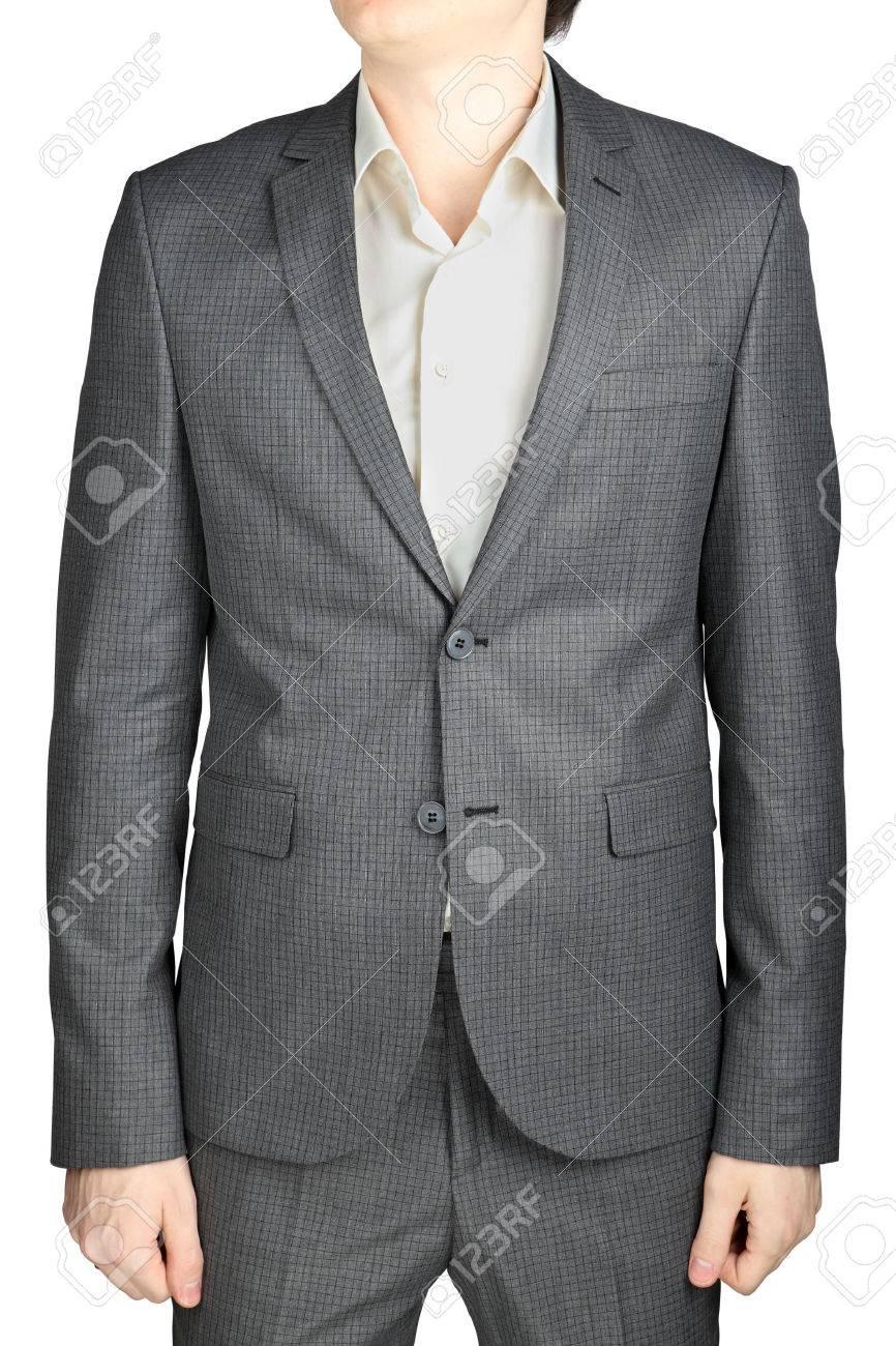 Herren Hochzeitsanzug Grau Karierte Muster Ein Kleiner Platz