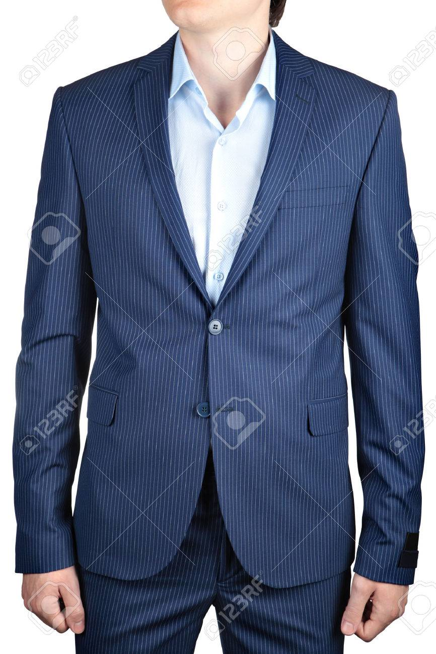 Small Stripes Blue, Wedding Or Prom Suit Jacket For Men Isolated ...