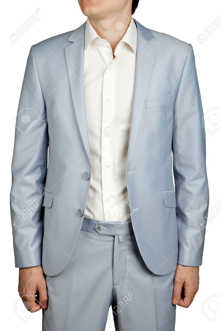 Mens Wedding Suit, Light Blue Pastel Blazer And Trousers, Isolated ...