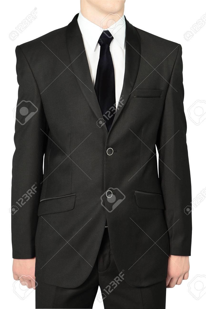 fa8953cca1a1 Trajes clásicos negros de la boda para los hombres, aislado en blanco.