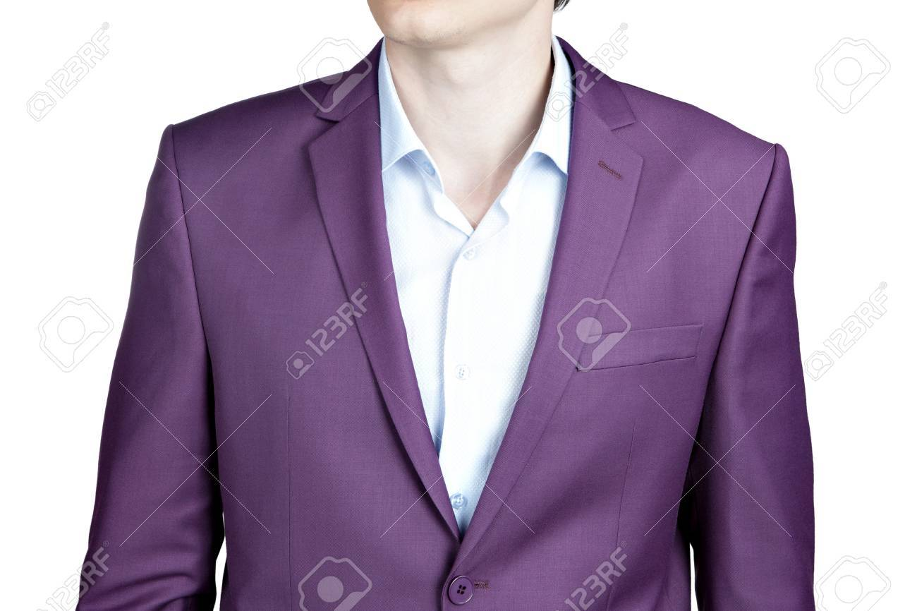 Close-up Purple Wedding Jacket Suit For Men, Isolated On White ...