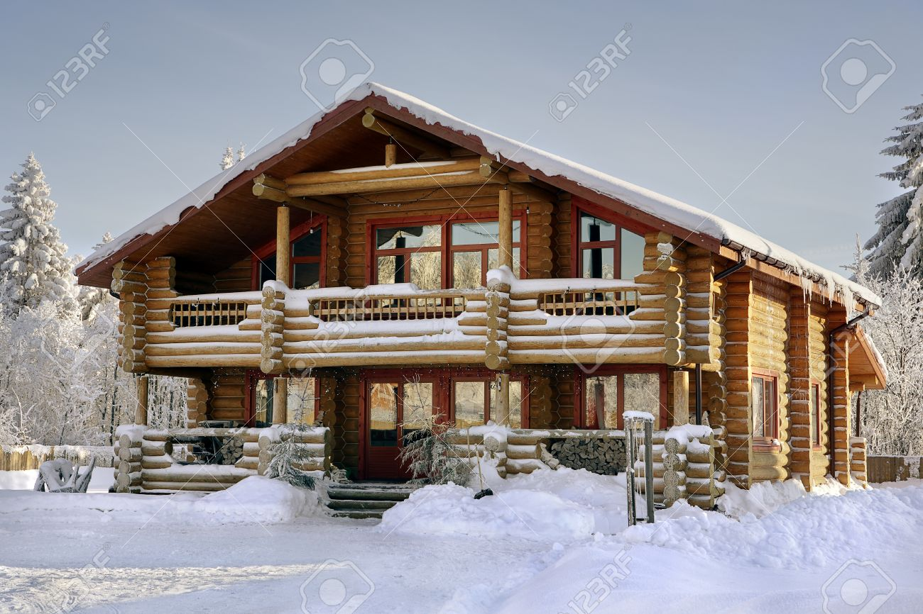 Modern Log Cabin Wooden Vacation Home Winter Timber House With Large Windows Balcony