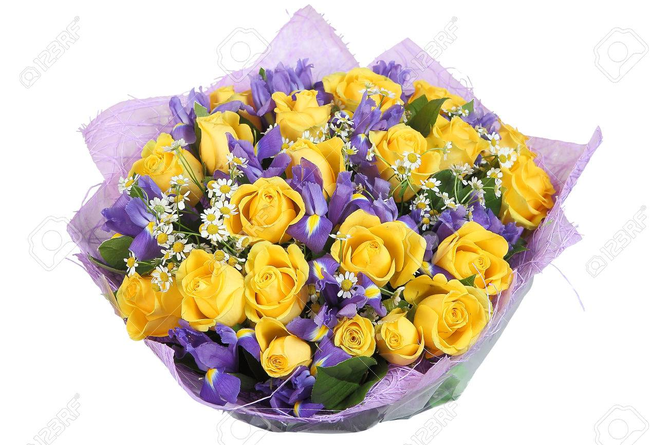 Floral bouquet of yellow roses and violet orchids isolated on floral bouquet of yellow roses and violet orchids isolated on white background stock photo mightylinksfo