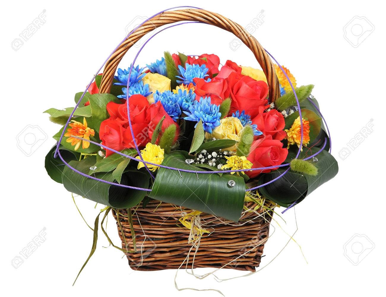 Bouquet Of Flowers In A Wicker Basket Floral Arrangement With