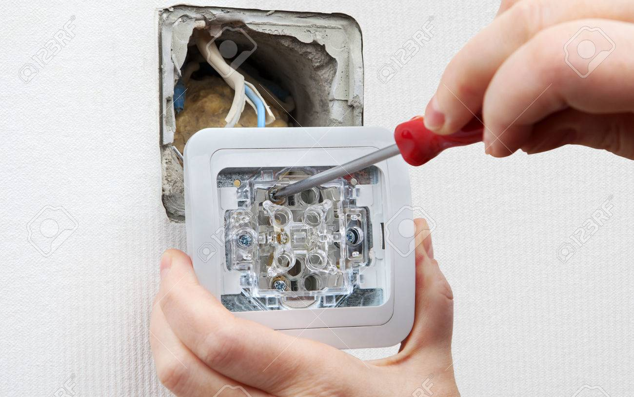 Change Light Switch Mounted Electrical Switches Connect Wiring A House Wires From Wirin Stock Photo