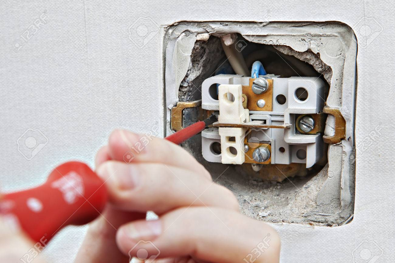 Replacing Damaged Light Switch Disassembly Of The Old Appliance Wiring Up A Close Stock Photo