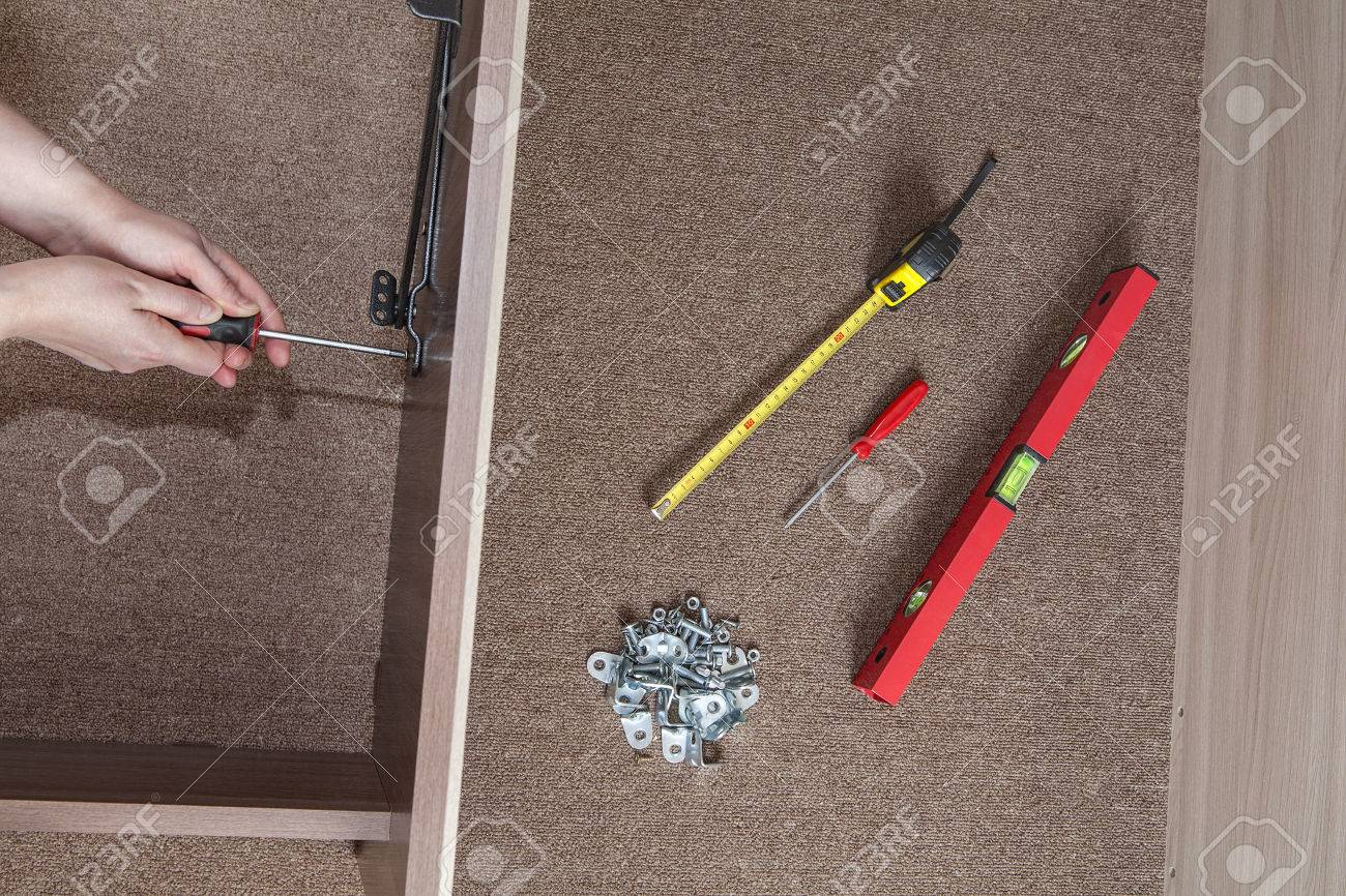 Bed Frame Assembly Furniture Builder Hands Fix The Screw Using