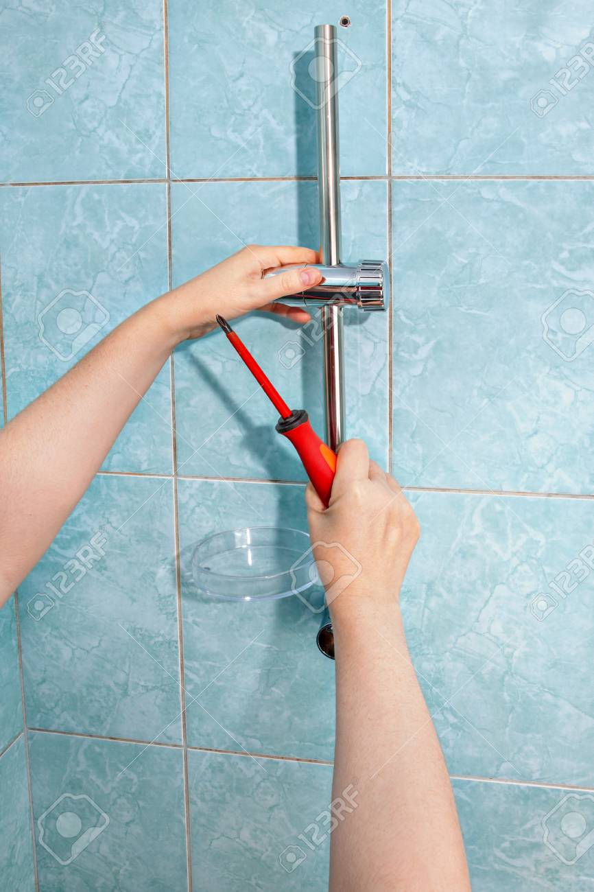 Residential Plumbing Repair Close Up Install Hand Held Shower
