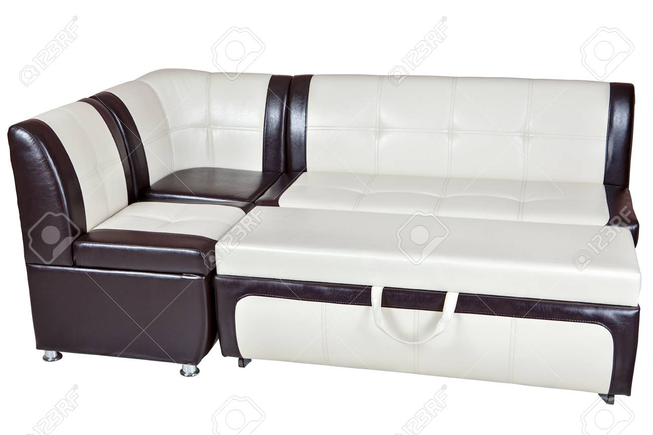 Faux leather convertible sofa bed, dining room furniture, white..