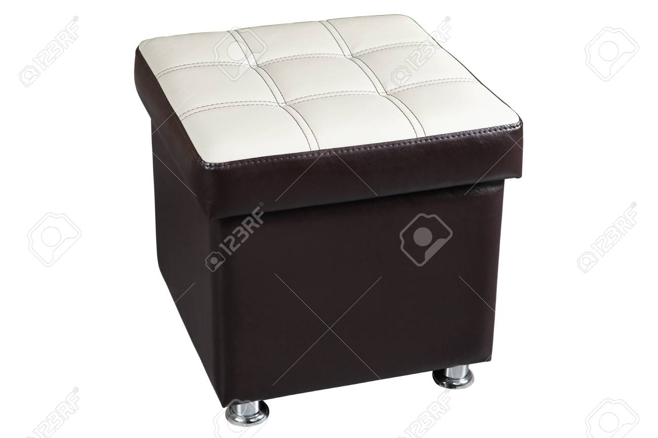 Remarkable Dark Brown Faux Leather Ottoman Seat Storage With White Top Dailytribune Chair Design For Home Dailytribuneorg