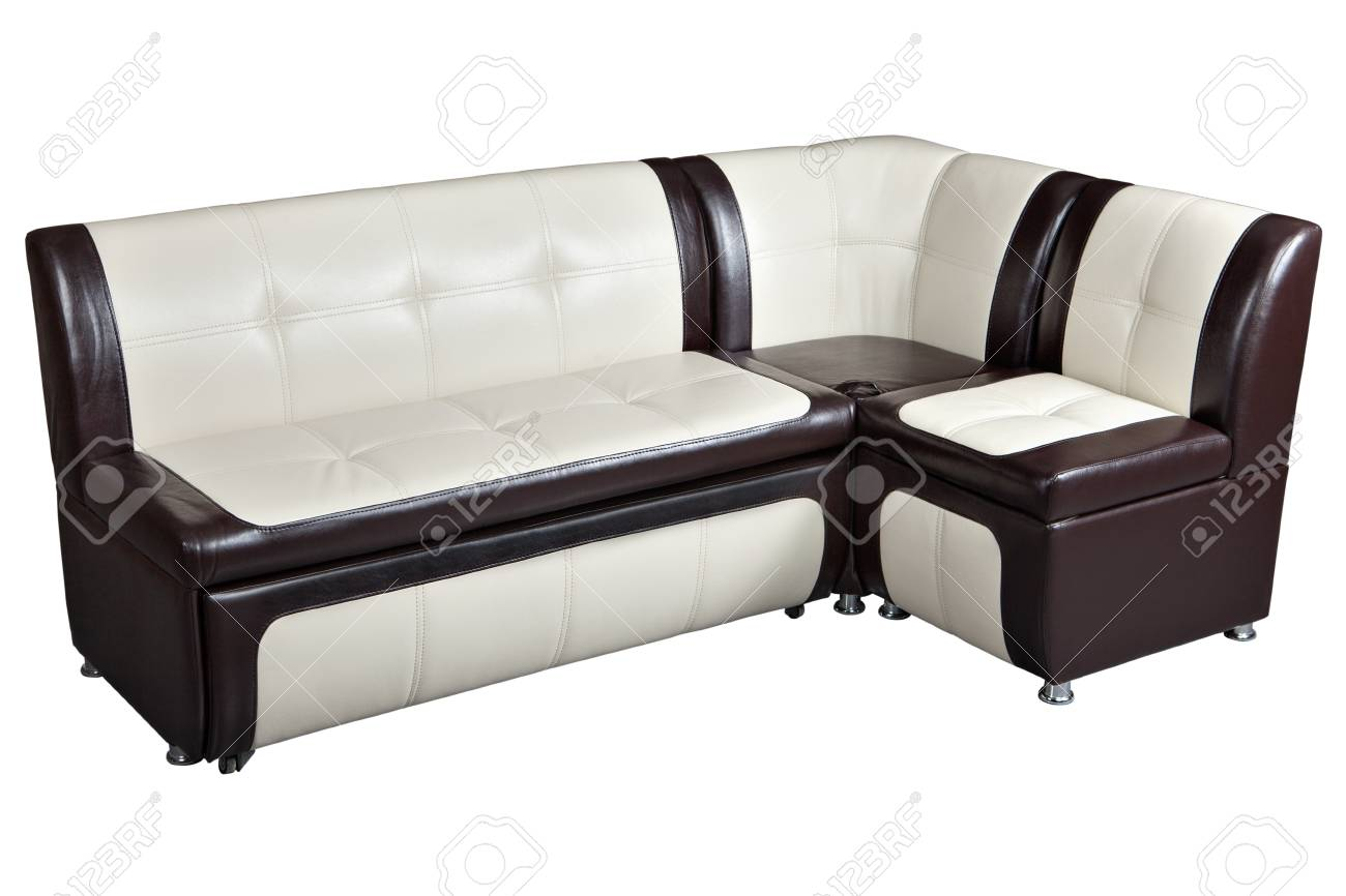 Corner sofa bed in artificial skin, furniture for kitchen, white..