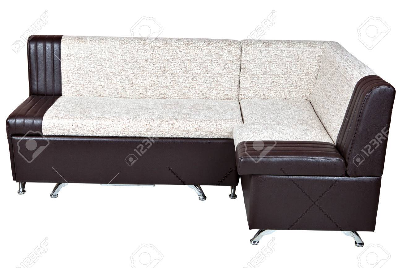 White With Brown Leather Corner Couch Bed With Storage Isolated ...