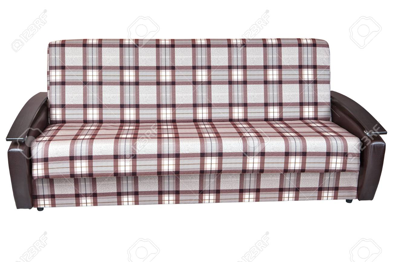 Charmant Stock Photo   When Folded, Modern Checkered Fabric Sofa Bed 2 Seater,  Isolated On White Background, Include Clipping Path.
