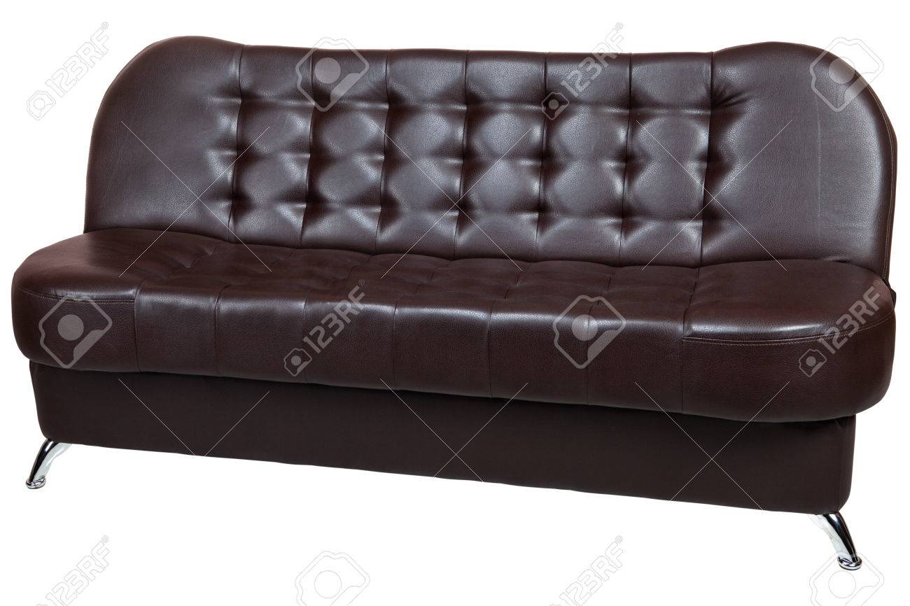 Dark Brown Leatherette Sofa Bed Isolated On White Background