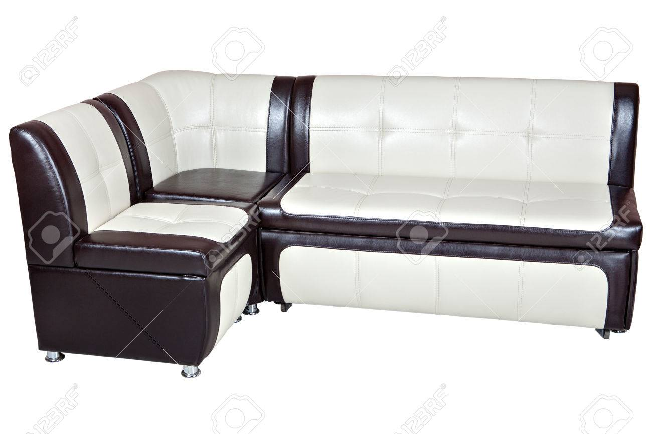 Corner Sofa Bed In Faux Leather, Dining Room Furniture, White ...