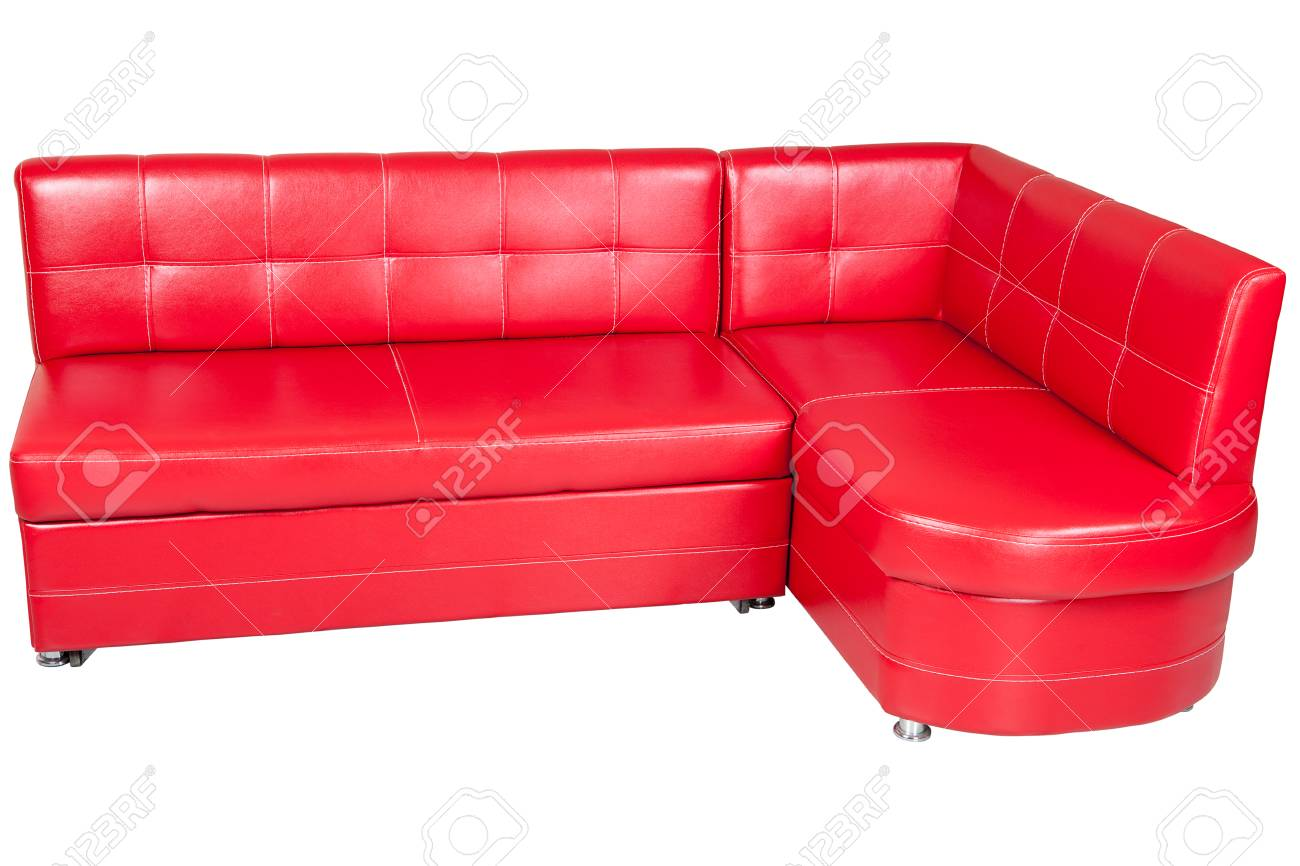 Superb Red Imitation Leather Corner Sofa For Dining Room Isolated Caraccident5 Cool Chair Designs And Ideas Caraccident5Info