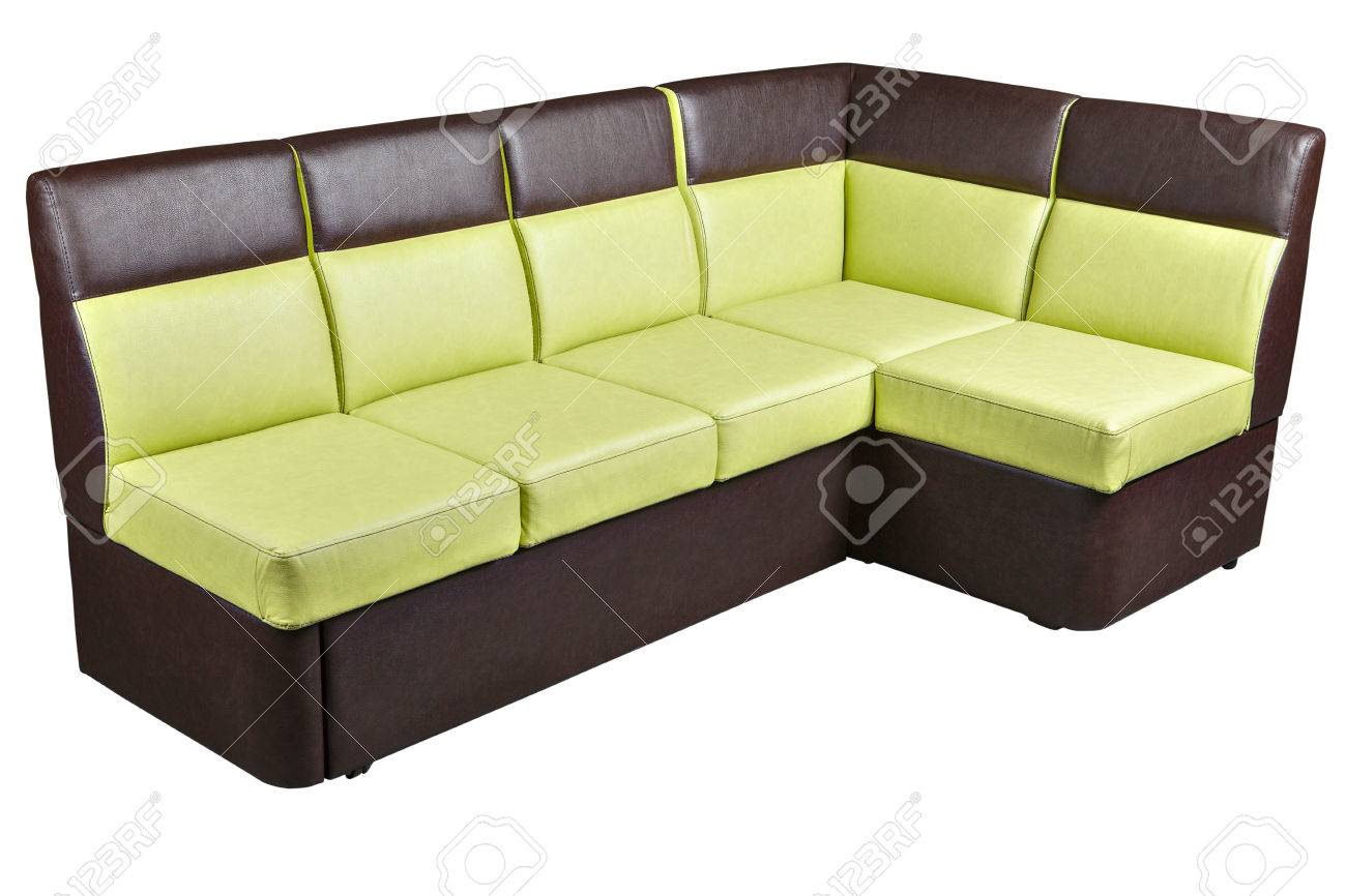 Folded Modern Leather Sectional Sleeper Sofa brown and yellow..